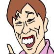 明石家さんまさんのものまねをする原口あきまささんの似顔絵