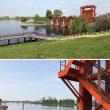 赤水門と青水門がある岩淵水門です。