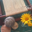 バージンオーガニック綿糸を染め、織り始めました。