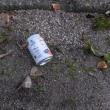 缶1個、たばこの空箱3個収集、レジ袋でゴミ拾い&街美化と安全パトロール