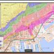 兵庫県の各市町村の津波避難用の色別の標高地図。ゼロ~5~10~20~30~40メートル、40メートル以上の6段階の標高の範囲の地図