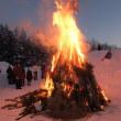 岩岳の樹氷と落倉のどんど焼き