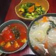 つるむらさきとアボカドのトマト煮