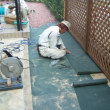 石張テラス外構工事追加工事