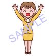 女性・立ちポーズ2/社員/販売・ビジネスのイラスト