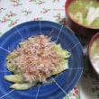 5/25スナップえんどうとえびのマヨ炒めで夕ご飯