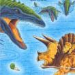 恐竜トリケラトプスうみをわたる