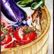色鉛筆画437 (桶の野菜)