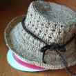 模様編みの帽子 できました