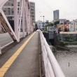 仮橋の建設工事。まず仮橋への道路を建設中。