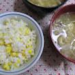 6/23トウモロコシご飯で夕ご飯と、ムーミンのスポンジワイプの件