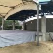 文化祭のステージと大型テント