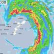 台風22号「サオラー」の目に完全に入る