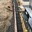 岡山市東区瀬戸町で境界塀の新設工事中