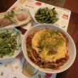 茹で豚&ピーマン明太マヨ炒め&焼きそば