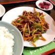 【日替】牛肉とニンニクの芽の四川風炒めを頂きました。 at 元祖紙やき ホルモサ