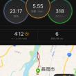 朝ローラー10分アップから、ラントレ 5・5km  キロ 4:12。 ハーフ90分ペースで。