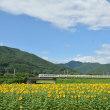 8月11日と12日撮影 みどり湖の向日葵とあずさ71号と返却回送