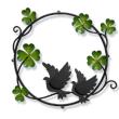四つ葉のクローバーのリース×鳥さん夫婦の妻飾り