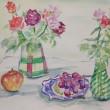 水彩画 バラと果実
