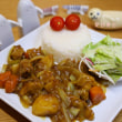 Butter stir fry with onions pork curry.
