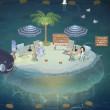 ニコタの夜の透きとおる海のクラゲの島