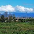 常願寺川越しに立山を見る・・・常願寺川河口近くの左岸(西岸)から
