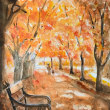 暇爺絵日記  紅葉とベンチ