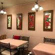 無ら里店内の絵の展示品が 冬の花   ポインセチアに変わりました。