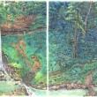 水泳大会、と滝を見に来た人々の絵3枚