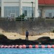 台風対策のため沿岸部の工事はなし。/25日に向けてカヌー練習。