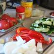 中華風献立 牛肉と玉ねぎの炒め物・トマトと卵の炒め物・たたききゅうりのあえ物・卵とコーンの中華スープ