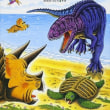 恐竜トリケラトプスとウミガメのしま