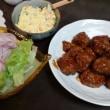 3/15夕飯(ポキ丼と肉団子)