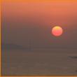 明石海峡大橋と夕陽3(大阪府咲州庁舎展望台=旧WTC)
