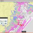 高知県黒潮町の津波避難用の色別の標高地図。ゼロ~5~10~20~30~40メートル、40メートル以上の6段階の標高の範囲の地図