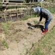 農園で、キュウリの植付・種まき(2018/4/20)