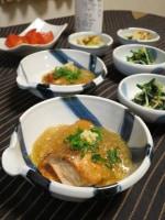 秋鮭のおろしあんかけと蓮根のもろみ味噌炒め