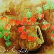 絵画販売・水彩原画「ほおずきと花瓶」「ほおずき」