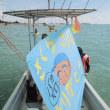 12月16日(土)、亡くなった船長のSさんを偲ぶ海上セレモニー