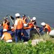 白岩川で、消防署の救助用ボートの訓練あるいは試し乗り?・・・富山市水橋