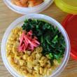 Ziploc弁当(鶏のからあげ・卵と菜っ葉のごはん)