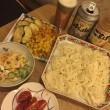 今日のお酒のあて - 素麺&天ぷら&マカロニサラダ -