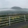 山の中腹    雲の帯