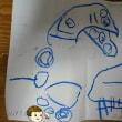 初めての孫の絵「こっしー」に口と足をつけたそうだ(2歳9ヶ月)