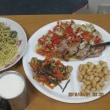 牡蠣パスタ&豚肉野菜ソース