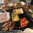 本日のランチ 肉セット(サムギョプサル・ホルモン)とキンパ(ドヤジ屋)