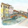 水彩画・ベネチュアを描く 10  ブラーノ島のメイン通り  380×280