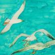 絵画販売・水彩原画「三羽のカモメ」