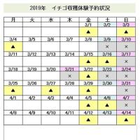 2019年イチゴ狩りの予約状況 11/14更新